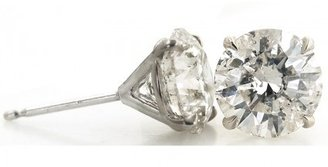 pristine (PR) 4.11tcw 14Kt White Gold 3-Prong Mountings with 2 Genuine Brilliant Cut Diamonds