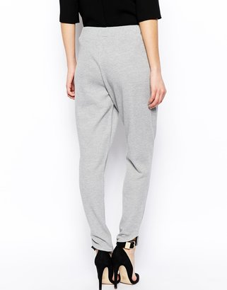 Asos Ankle Grazer Textured Peg Trousers with Curved Hem