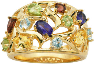 FINE JEWELRY Multi-Gemstone 18K Yellow Gold Over Sterling Silver Cluster Ring $124.98 thestylecure.com