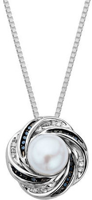 Lord & Taylor Sterling Silver Necklace with Pearl and Black Diamond Pendant