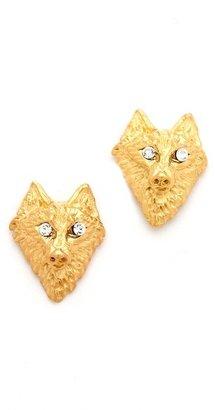 Tom Binns Crystal Wolf Earrings