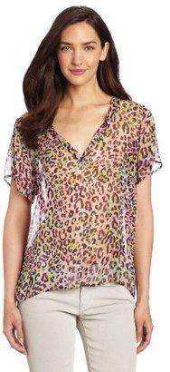 Velvet by Graham & Spencer Women's Neon Leopard Short Sleeve Top