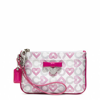 Waverly Coach Hearts Small Wristlet With Bow
