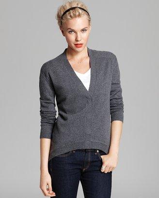 AQUA Cashmere Sweater - High Low Big Snap Cardigan