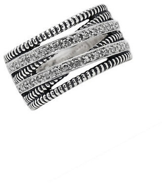 Lord & Taylor Sterling Silver Ring with Diamond Accents