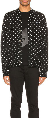 Comme des Garcons Dot Print Wool Cardigan with Black Emblem in Black & Natural | FWRD