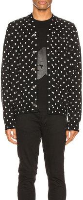 Comme des Garcons Dot Print Wool Cardigan with Black Emblem in Black & Natural | FWRD