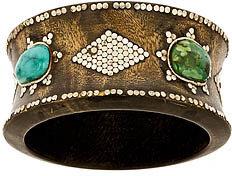 Sku Wood Bangle With Turquoise Stones