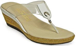 Footnotes Bruci - White Cork Wedge Thong Sandal