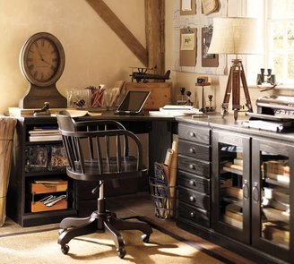 Pottery Barn Printer's Corner Desk Set, Tuscan Chestnut