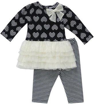 Youngland 2-pc. heart drop waist dress & leggings set - baby