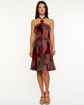 Le Château Abstract Halter Fit & Flare Dress