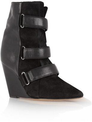 Isabel Marant Scarlet leather, suede and calf hair wedge boots