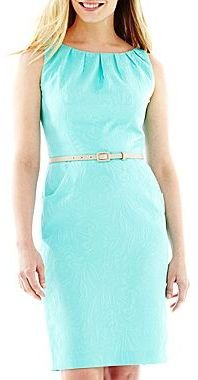 JCPenney 9 & Co.® Jacquard Pleat-Neck Shift Dress - Petite