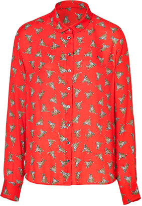 Paul & Joe Sister Red Twill Baby Leopard Print Shirt