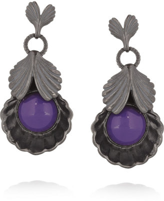 Giles & Brother Gunmetal-plated shell earrings