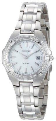 Seiko Women's SXDB51 Diamond Bezel Silver-Tone Mother of Pearl Dial Dress Watch $225 thestylecure.com