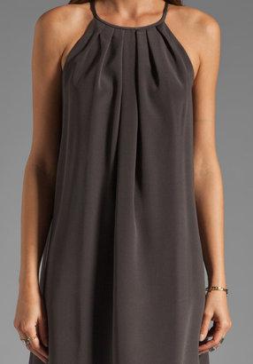 Jay Godfrey Wells Pleated Neckline Dress in Charcoal/Shocking Pink
