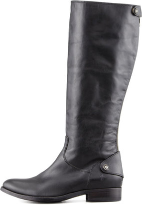 Frye Melissa Leather Back-Zip Extended Calf Boot, Black