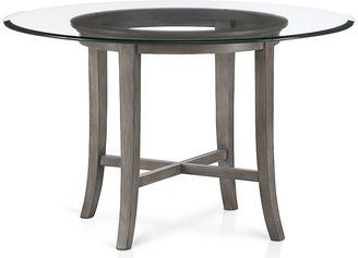 """Crate & Barrel Halo Grey Round Dining Table with 60"""" Glass Top"""