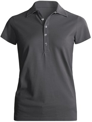 Joan Vass Studio Cotton Pique Polo Shirt - Short Sleeve (For Women)