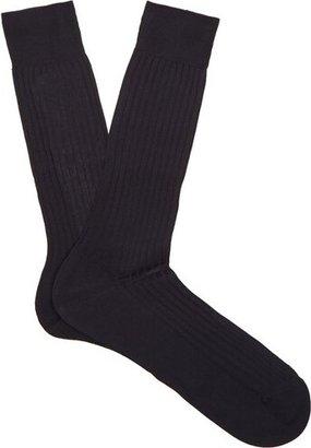 Pantherella Danvers Ribbed-knit Socks - Mens - Navy