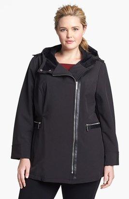 MICHAEL Michael Kors Hooded Faux Leather Trim Soft Shell Jacket (Plus Size)