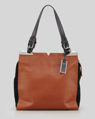 Vince Camuto Nadia Two-Tone Leather Tote Bag, Whiskey/Black