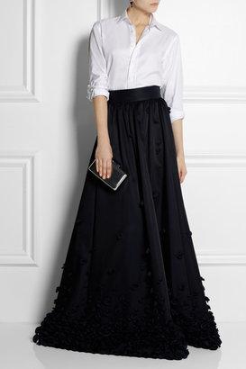 Temperley London Ruffle-appliquéd satin maxi skirt
