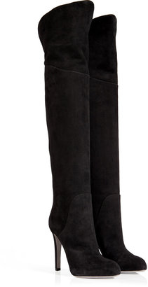 Sergio Rossi Suede Over-the-Knee Boots in Black