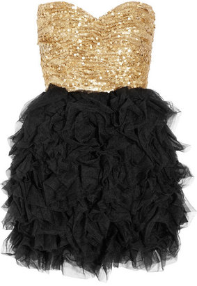 Opulence England Sequined and ruffled tulle dress