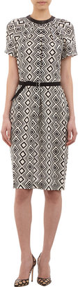 Martin Grant Geometric-print Belted Sheath Dress