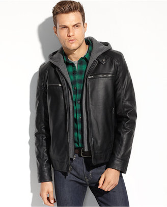 GUESS Coats, Faux Leather Hooded Moto Jacket