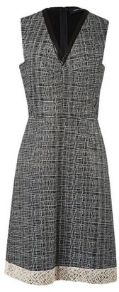 Derek Lam V-Neck Dress with Leather Trim