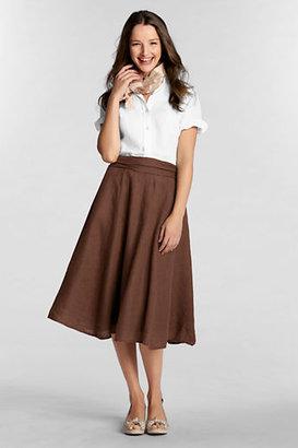 Lands' End Women's Regular Linen Tie-back Skirt