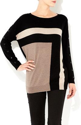Wallis Black Colour Block Tunic
