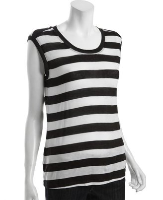 BCBGMAXAZRIA black and white jersey knit striped 'Billie' sleeveless top