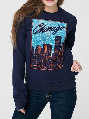 American Apparel Unisex Chicago Screen Printed California Fleece Raglan