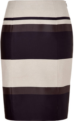 Narciso Rodriguez Charcoal Striped Pencil Skirt