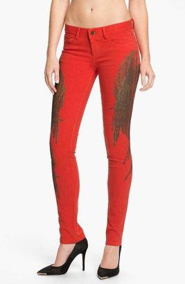 Haute Hippie Feather Print Skinny Jeans