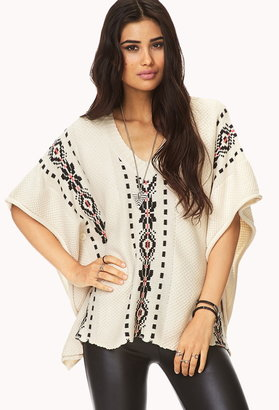 Forever 21 Worldly Buttoned Poncho Sweater