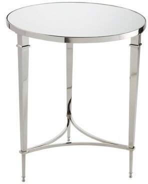 Global Views French End Table Color: Nickel; Mirror Top