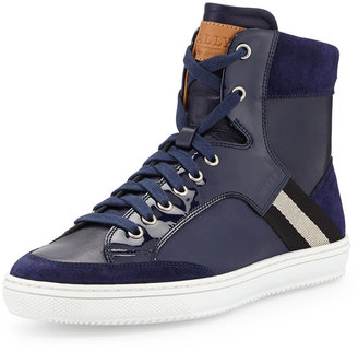 Bally Perforated Leather Logo Sneaker, Navy