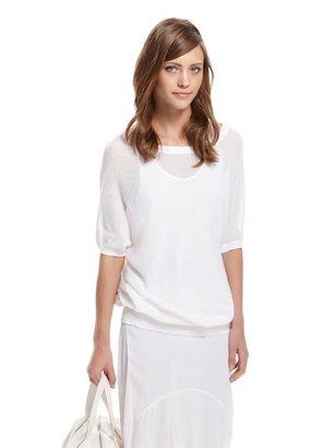DKNY Cashmere Like Cotton Pointelle Stitch Dolman Sleeve Pullover