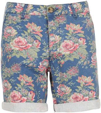 Topman Blue Floral Pattern Shorts