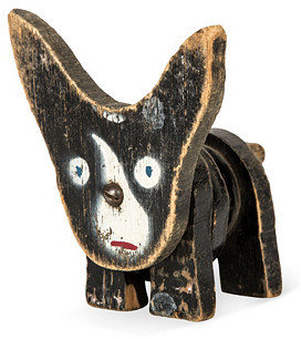 Folk Art Wood Dog