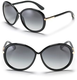 "Tom Ford & #034;Clothilde"" Round Sunglasses with Metal Temple Detail"