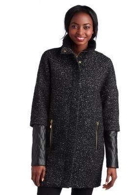 Vince Camuto Boucle & Faux Leather Coat