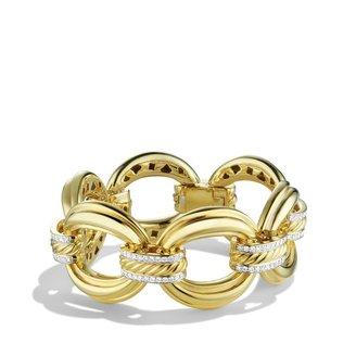 David Yurman Oval Large Link Bracelet with Diamonds in Gold