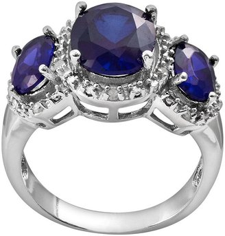 Sterling Silver .10-ct. T.W. Diamond & Lab-Created Sapphire Ring